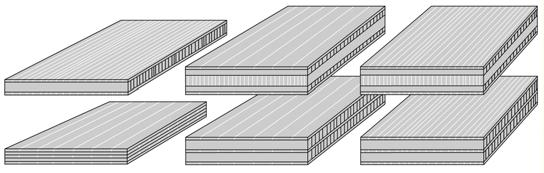 CAD drawing of the 3-layer solid-bamboo boards 16 mm horizontally and vertically