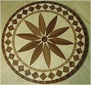 Bamboo flooring with embedded intarsia