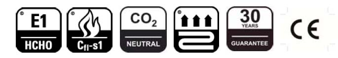 pictogram for underfloor heating, 30-year warranty