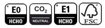 pictogram for E0 standard, CO² neutral, E1 standard as well the Logo for FSC certified